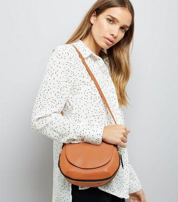 Tan Zip Trim Saddle Bag New Look