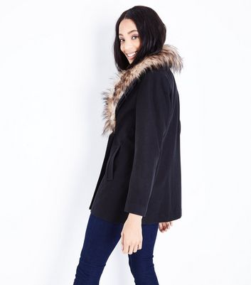Black Faux Fur Collar Double Breasted Coat New Look