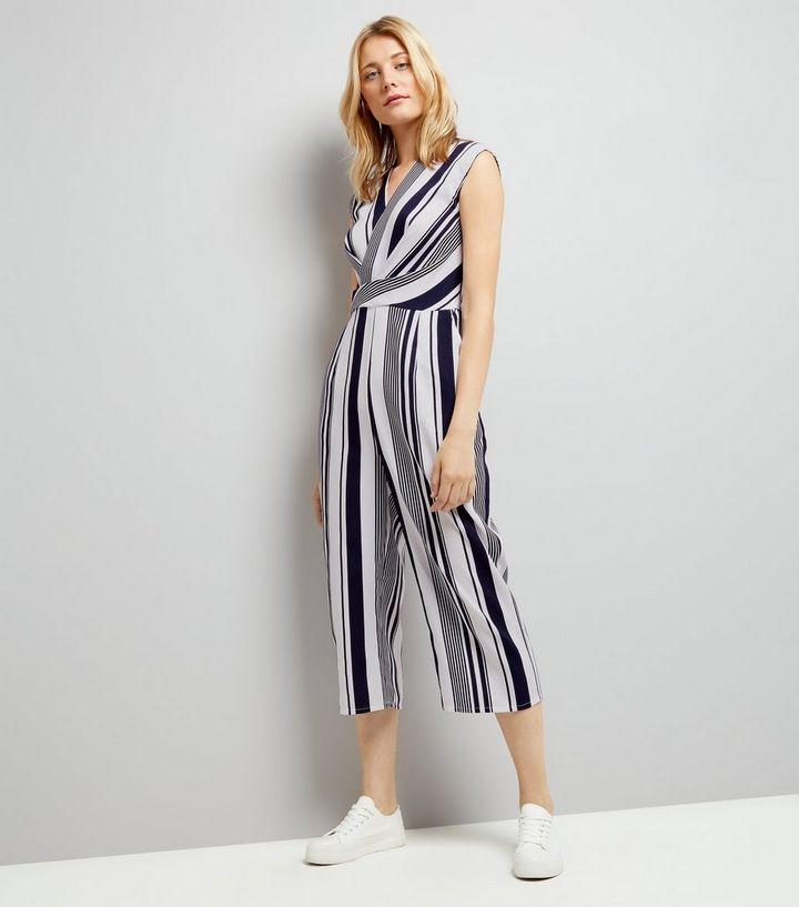 d35cbd3903ceb5 AX Paris Blue Stripe Wrap Front Jumpsuit   New Look