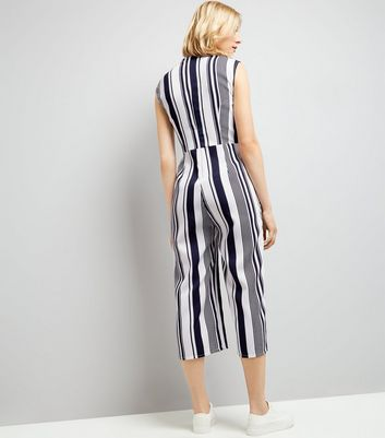 AX Paris Blue Stripe Wrap Front Jumpsuit New Look