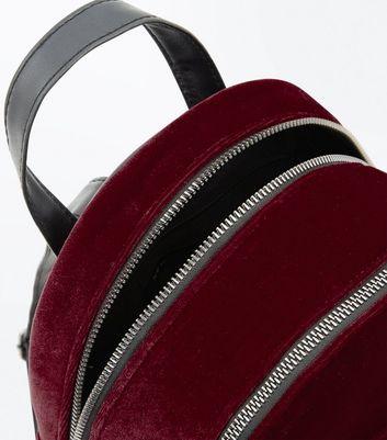 Red Velvet Chunky Zip Mini Backpack New Look