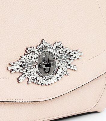 Shell Pink Diamante Lock Top Handle Bag New Look