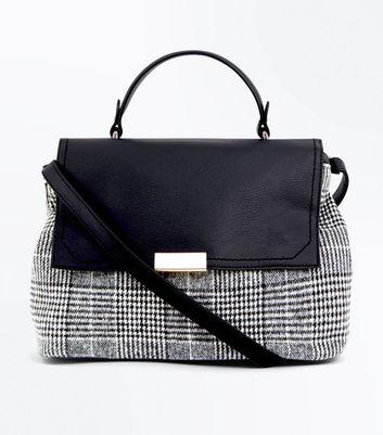 Black Check Pattern Satchel New Look