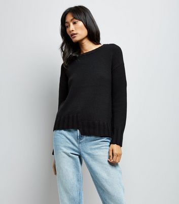 Black Asymmetric Hem Jumper New Look