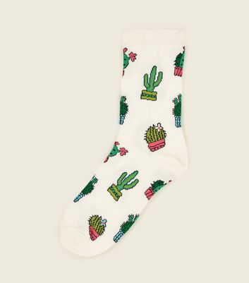 Cream Cactus Pattern Socks