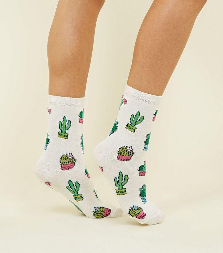 Cream Cactus Pattern Socks | New Look