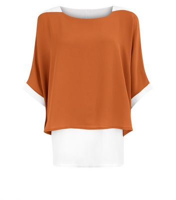 Brown Loose Layered Contrast Top New Look