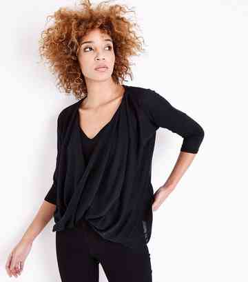 Black Fine Knit Wrap Front Dip Hem Top