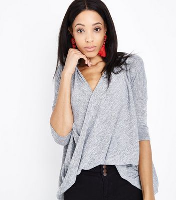 Pale Grey Fine Knit Wrap Front Dip Hem Top New Look