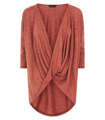 Rust Fine Knit Wrap Front Dip Hem Top New Look
