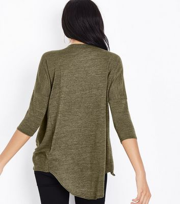 Khaki Fine Knit Wrap Front Dip Hem Top New Look