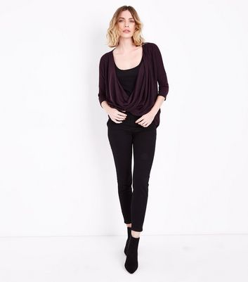 Burgundy Fine Knit Wrap Front Dip Hem Top New Look