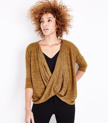 Yellow Fine Knit Wrap Front Dip Hem Top New Look