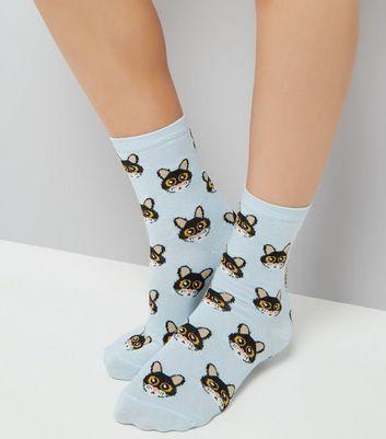 Blue Cat Cartoon Face Pattern Socks New Look