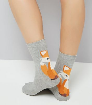 Grey Fox Pattern Socks New Look