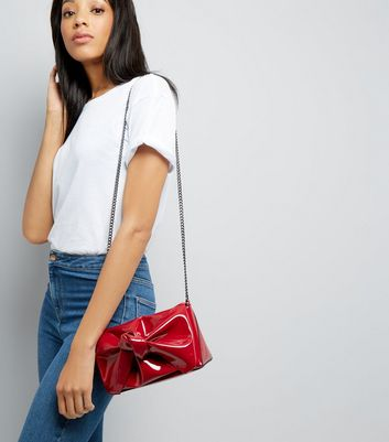 Red Patent Oversized Bow Bag New Look