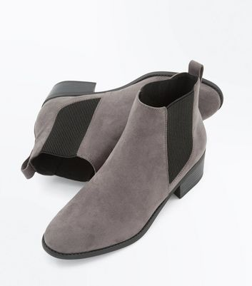 Teens Grey Suedette Chelsea Boots New Look