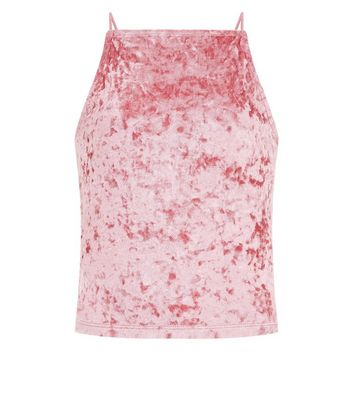 Teens Shell Pink Velvet Cami New Look