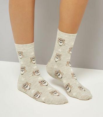 Cream Owl Print Socks New Look