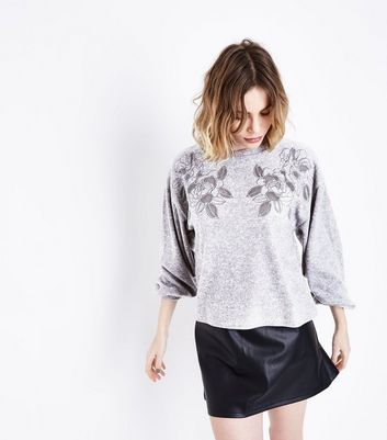 Dark Grey Embroidered Mesh Front Jumper New Look