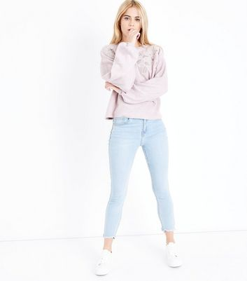 Pink Embroidered Lace Front Jumper New Look