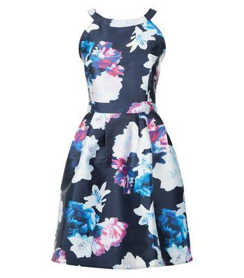 AX Paris Blue Floral Print Skater Dress New Look
