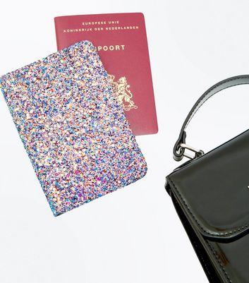 Purple Glitter Card Holder New Look