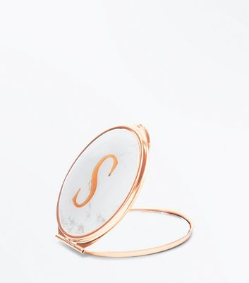 White S Initial Marble Mirror New Look
