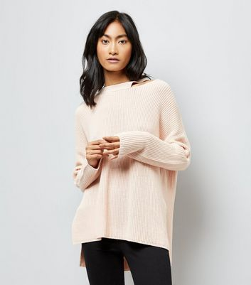 Shell Pink Cut Out Neck Longline Jumper New Look