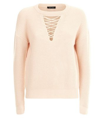 Shell Pink Lattice Choker Neck Jumper New Look