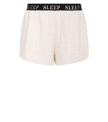 Cream Sleep Slogan Print Pyjama Shorts New Look