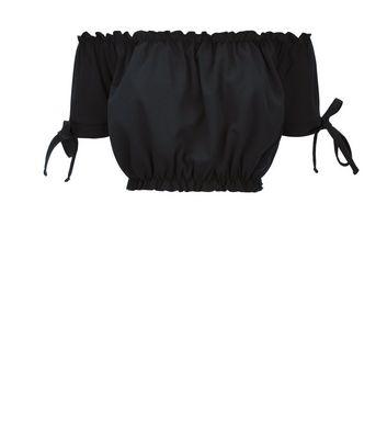 Cameo Rose Black Bardot Neckline Crop Top New Look