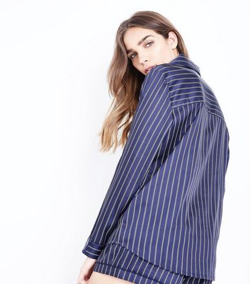 Blue Stripe Satin Pyjama Shirt New Look