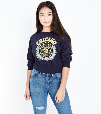 Teens Navy Chicago Slogan Sweater New Look