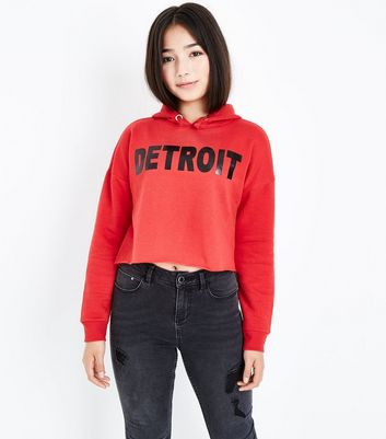 Teens Red Detriot Slogan Hoodie New Look