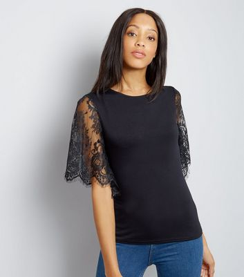 Black Lace Sleeve T-Shirt New Look