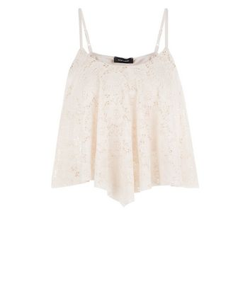 Shell Pink Lace Hanky Hem Crop Top New Look