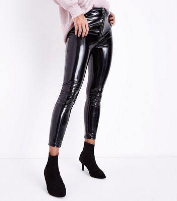Parisian Black Leather-Look Skinny Trousers New Look