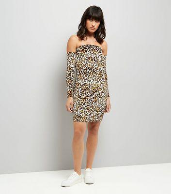 Parisian Leopard Print Bardot Bodycon Dress New Look
