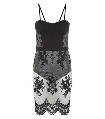 Parisian Black Floral Embroidered Bodycon Dress New Look