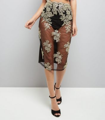 Parasian Embellished Sheer Bodycon Midi Skirt New Look