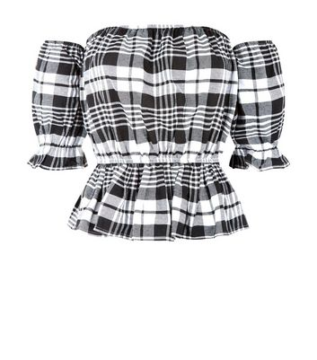 Parisian Check Puffed Sleeve Bardot Neck Top New Look