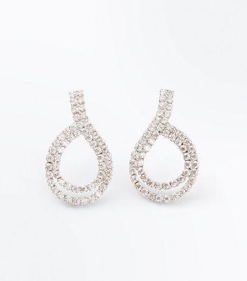 Silver Cubic Zirconia Loop Stud Earrings New Look