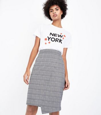 Pale Grey Check Asymmetric Midi Skirt New Look
