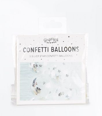 Silver Star Confetti Balloons New Look