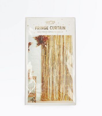 Gold Fringed Hanging Foil Curtain New Look