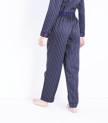 Blue Stripe Satin Pyjama Bottoms New Look