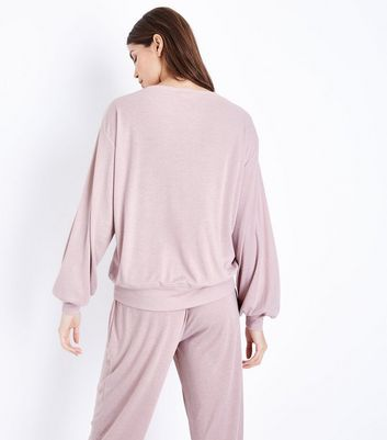 Mid Pink Sleep In Late Slogan Front Pyjama Top New Look