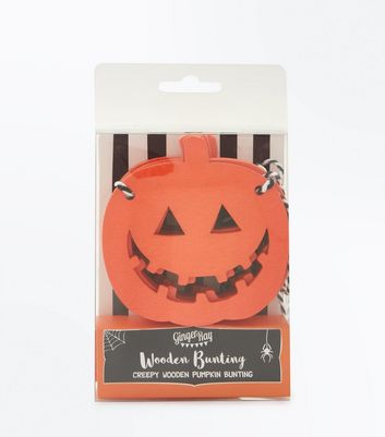 Bright Orange Halloween Wooden Pumpkin Bunting New Look