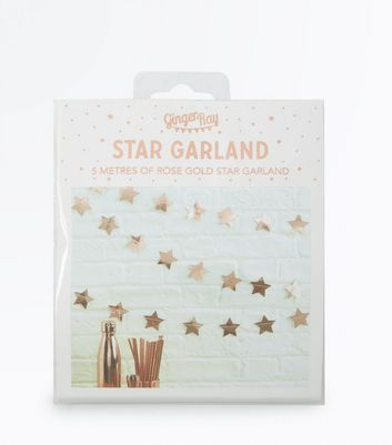 Rose Gold Star Garland New Look